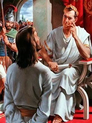 Western Religions - Jesus stands before  Jesus facing Pontius Pilate,